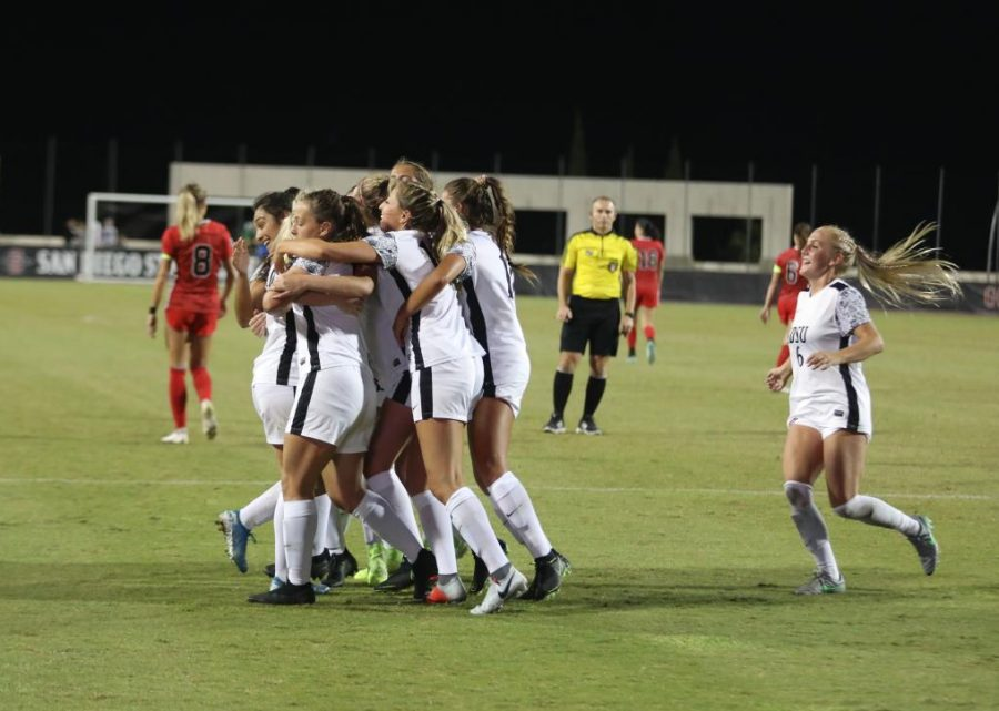 San+Diego+State+women%27s+soccer+celebrates+after+scoring+its+lone+goal+against+UNLV+in+a+1-0+victory+against+the+Rebels+on+Oct.+4%2C+2019+at+the+SDSU+Sports+Deck.