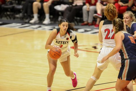 Sophomore guard/forward Mallory Adams dribbles near the top of the key during the Aztecs' 55-45 win over Cal State Fullerton on Nov. 17, 2019 at Viejas Arena.