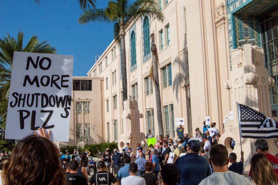 County residents and business owners gathered at Waterfront Park in front of the county administration at the SD Means Business rally on Sept. 21