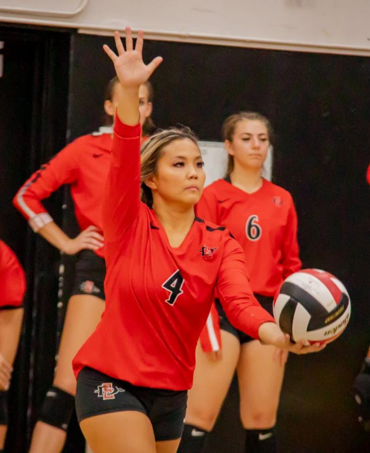 Then-junior defensive specialist/libero Lauren Lee prepares to serve the ball to Arizona during the Aztecs' 3-0 loss to the Wildcats on Sept. 7, 2019 at Peterson Gym.