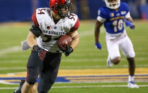 San Diego State then-sophomore linebacker Caden McDonald intercepts a pass during the Aztecs' 27-17 victory over San José State on Oct. 19, 2019 at CEFCU Stadium. The pick sealed the win for SDSU and the team's record improved to 6-1.