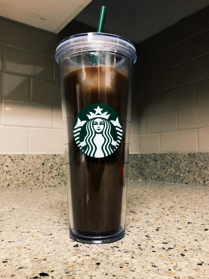 The Flavored Mocha, featuring coffee, vegan hot cocoa powder, non-dairy milk and syrup flavoring.