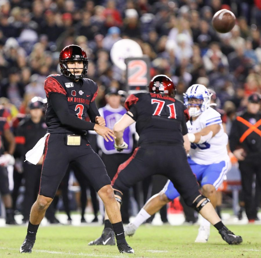 Then-freshman quarterback Carson Baker throws a quick pass during the Aztecs' 13-3 victory on Nov. 30, 2019 at SDCCU Stadium. Baker is set to make his second-career start against UNLV on Oct. 24.