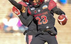 Then-sophomore cornerback Darren Hall celebrates after returning a fumble for a touchdown  during the Aztecs' 48-11 win over Central Michigan on Dec. 21, 2019 at the New Mexico Bowl in Albuquerque, New Mexico.