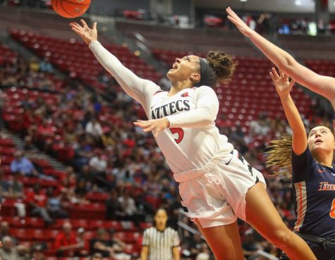 Then-sophomore guard Téa Adams drives to the hoop for a contested layup during the Aztecs