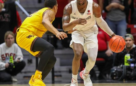 Then-sophomore guard Adam Seiko looks to dribble past a Wyoming defender during the Aztecs' 72-55 win over the Cowboys on Jan. 21 at Viejas Arena.