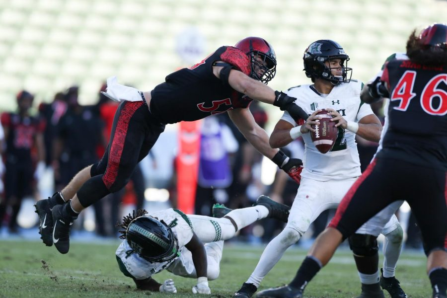 Junior linebacker Caden McDonald strip sacks Hawaii sophomore quarterback Chevan Cordeiro during the Aztecs' 34-10 win over the Rainbow Warriors at Dignity Health Sports Park in Carson, Calif. on Nov. 14