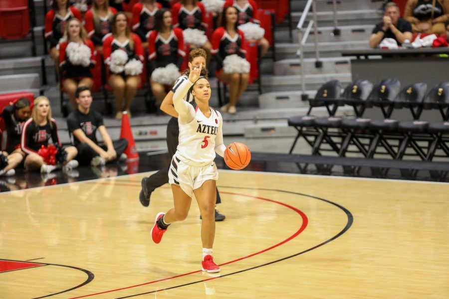 Then-junior guard Téa Adams signals a play to her teammates during the Aztecs' 55-45 win over Cal State Fullerton on Nov. 17, 2019 at Viejas Arena.