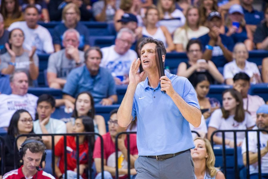 USD+then-head+volleyball+coach+Brent+Hilliard+instructs+his+team+during+his+tenure+with+the+Toreros.