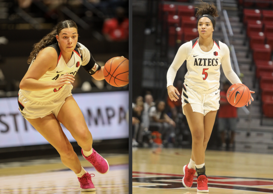 Sophomore forward Mallory Adams (left) and then-junior guard Téa Adams (right) each dribble the ball up the court during the Aztecs' 55-45 win over Cal State Fullerton on Nov. 17, 2019 at Viejas Arena.