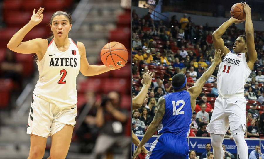 San Diego State women's basketball junior guard Sophia Ramos (left) and men's basketball senior forward Matt Mitchell won the Mountain West Conference Player of the Week awards for the week ending Nov. 29 on Nov. 30, according to a conference-issued press release.