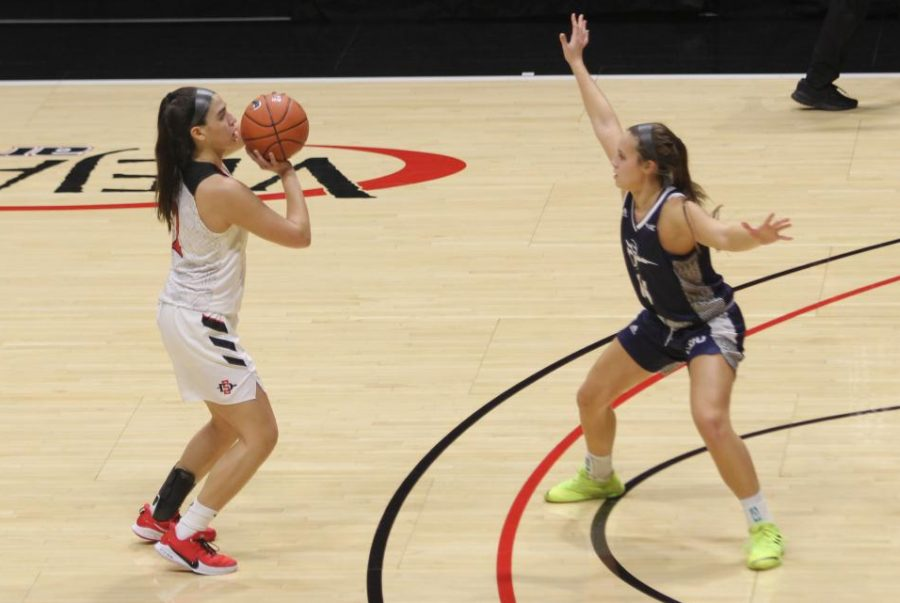 Junior guard Sophia Ramos prepares to fire a 3-point shot during the Aztecs 75-71 loss to Cal Baptist on Dec. 2 at Viejas Arena. Ramos led the Scarlet and Black with xx points, including xx makes from beyond the arc.