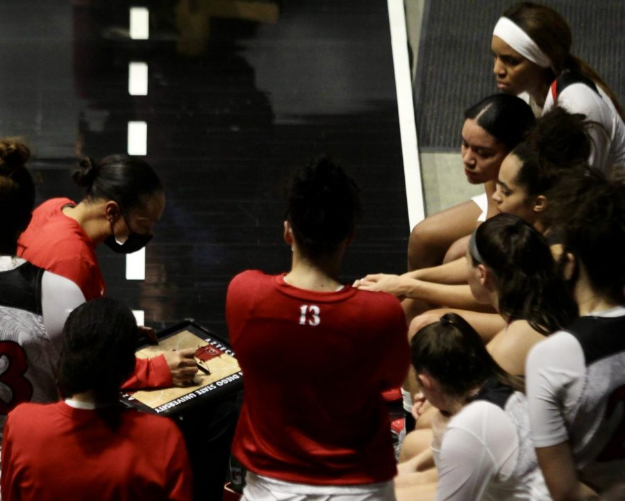San Diego State women's basketball head coach Stacy Terry-Hutson (left) draws up a play near the end of the Aztecs' 75-71 loss to Cal Baptist on Dec. 2 at Viejas Arena.