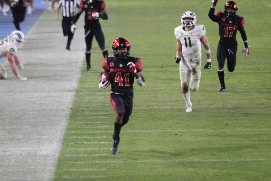 Junior wide receiver BJ Busbee returns a punt for a touchdown during the Aztecs' 29-17 win against Colorado State on Dec. 5 at Dignity Health Sports Park.