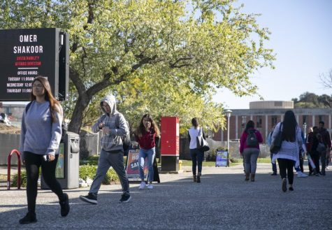Students walk across campus at California State University East Bay.