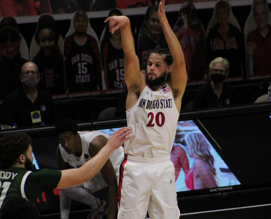 Senior guard Jordan Schakel follows through on a 3-point attempt during the Aztecs' 78-65 win over Colorado State on Jan. 4 at Viejas Arena.