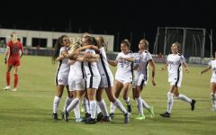 The San Diego State women's soccer team celebrates after scoring a goal during the Aztecs' 1-0 win on Oct. 4, 2019 at the SDSU Sports Deck.