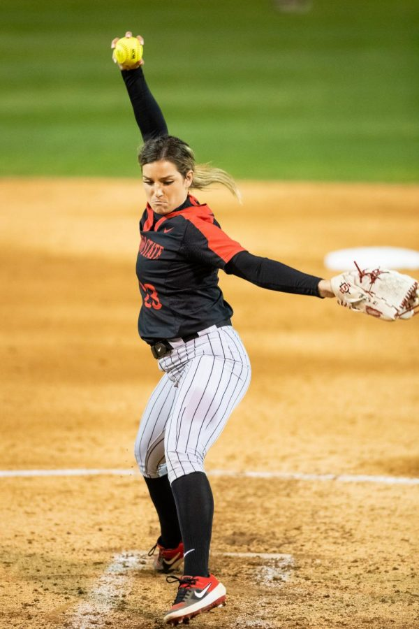 San Diego State softball junior pitcher Maggie Balint fires a pitch during the Aztecs' 3-0 loss to Brigham Young on Feb. 13, 2020 at the SDSU Softball Stadium.