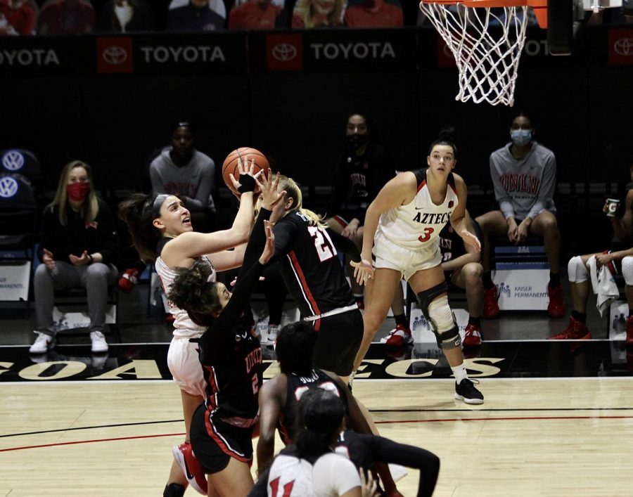San+Diego+State+women%E2%80%99s+basketball+junior+guard+Sophia+Ramos+attempts+a+layup+while+sophomore+forward+Mallory+Adams+looks+on+from+the+corner+during+the+Aztecs%E2%80%99+80-65+loss+to+UNLV+on+Feb.+15%2C+2021+at+Viejas+Arena.