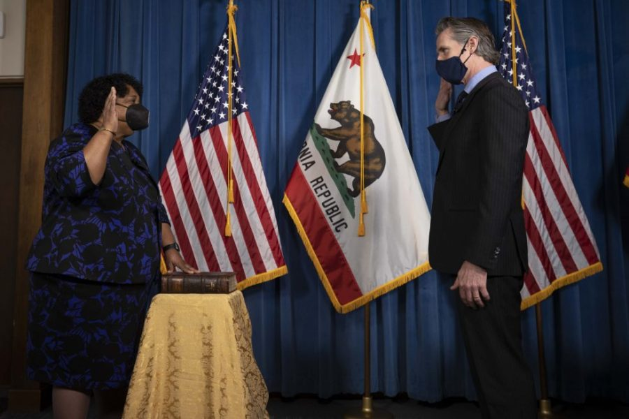 Gov. Gavin Newsom swears in Dr. Shirley Weber as California's new Secretary of State following Alex Padilla's appointment to the U.S. Senate in order to fill the vacancy created by Vice President Kamala Harris.