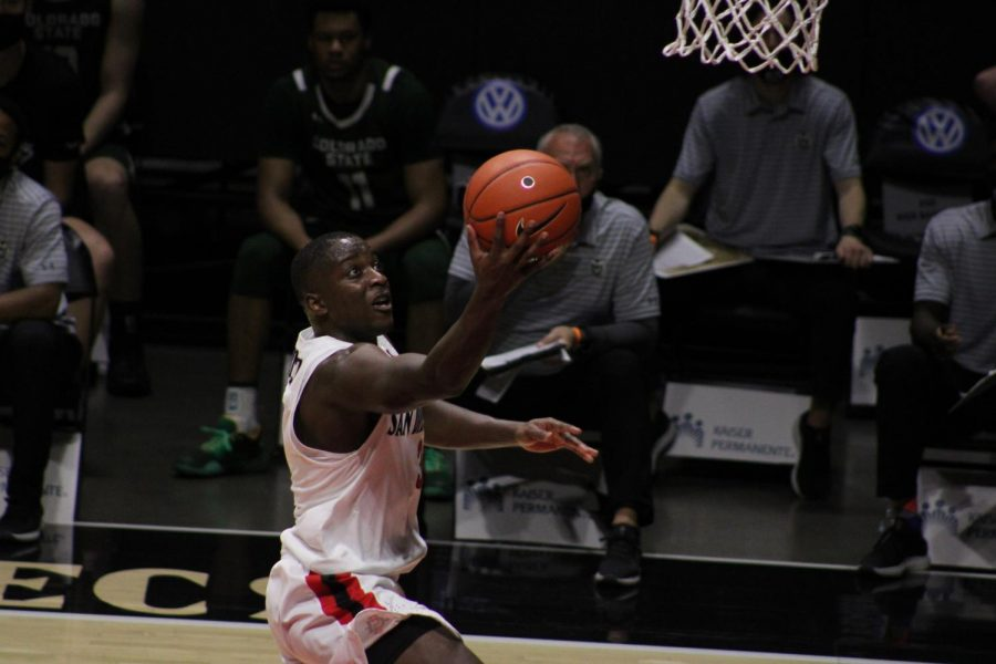 San Diego State mens basketball senior guard Terrell Gomez attempts a layup during the Aztecs 78-65 win over Colorado State on Jan. 4, 2021 at Viejas Arena.