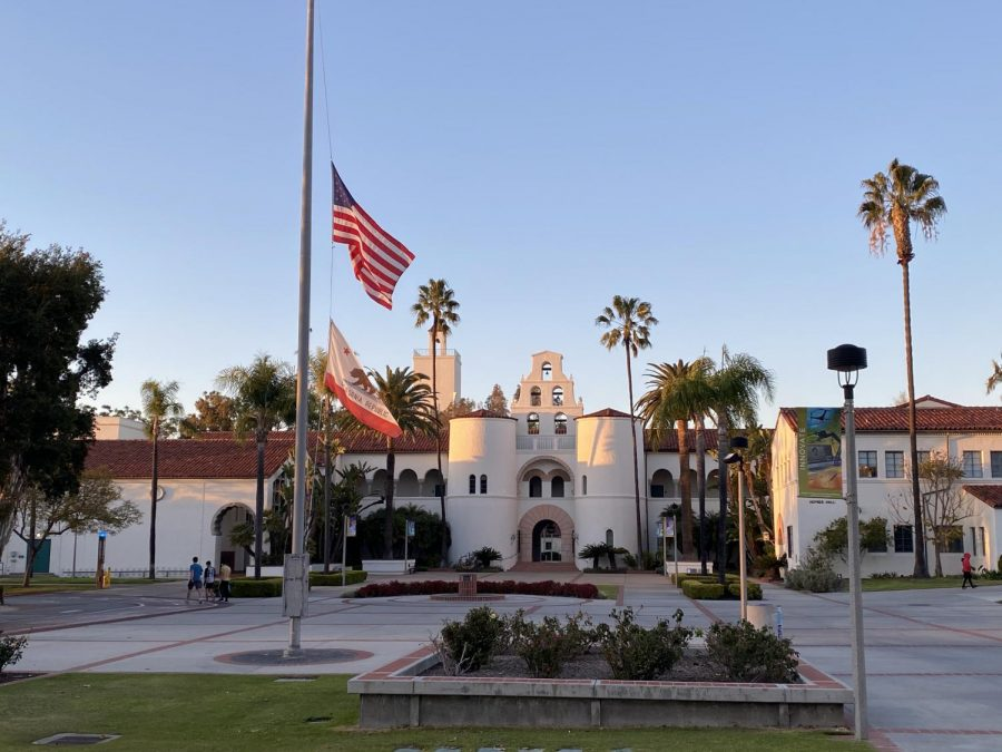 While expanded vaccine eligibility offers a glimmer of hope, the country mourns the loss of more than 500,000 lives to COVID-19. The flags in front of Hepner Hall flew at half mast in honor of those lost.
