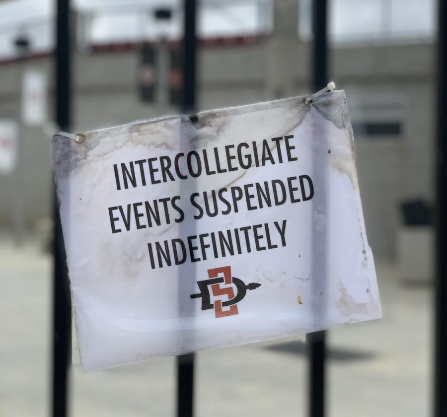 A sign at Tony Gwynn Stadium during summer 2020 displays intercollegiate sports were suspended due to the COVID-19 pandemic. Now, in February 2021, the San Diego State men's and women's tennis teams are the first two individual programs to have to pause in-person activities for two weeks due to the virus.