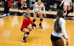 San Diego State volleyball senior libero Lauren Lee connects with the ball during the Aztecs' 3-1 loss to Fresno State on Feb. 12, 2021 at Peterson Gym.