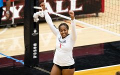 San Diego State volleyball sophomore outside hitter Nya Blair celebrates after a play during the Aztecs' 3-1 loss to Fresno State on Feb. 12 at Peterson Gym.
