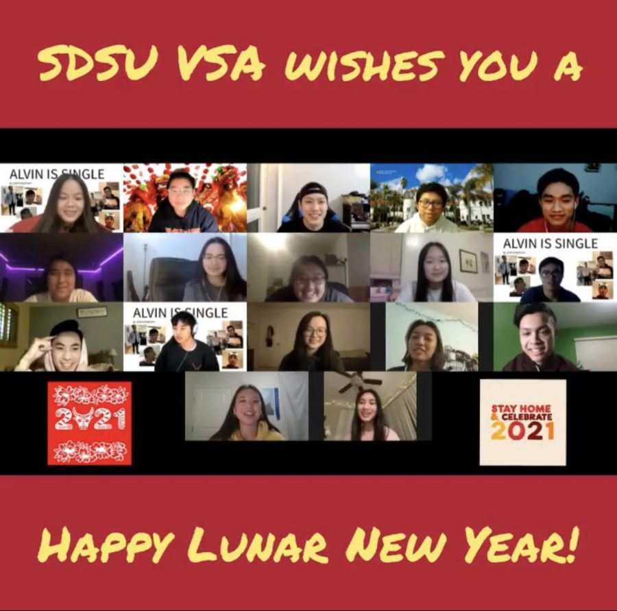 Members of SDSU VSA wish everyone a Happy Lunar New Year through Discord. Courtesy of the SDSU VSA.