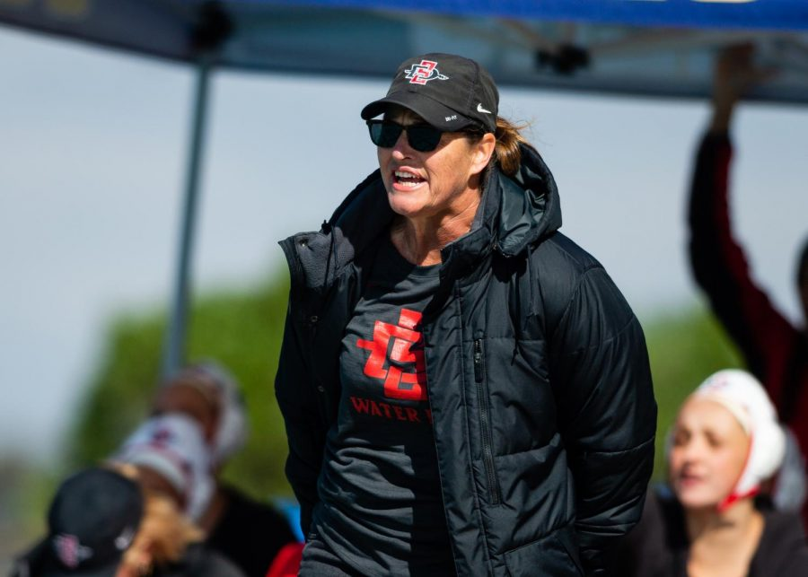 San Diego State water polo head coach Carin Crawford looks on during a match.