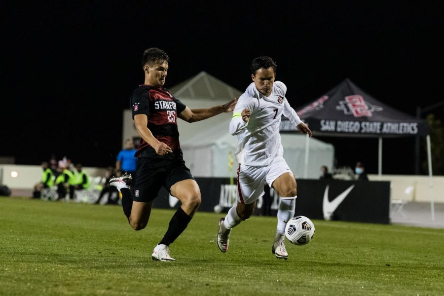 San Diego State men's soccer junior midfielder Laukoa Santos races against a Stanford defender during the Aztecs' 1-0 loss to the Cardinal on Feb. 27, 2021 at the SDSU Sports Deck.