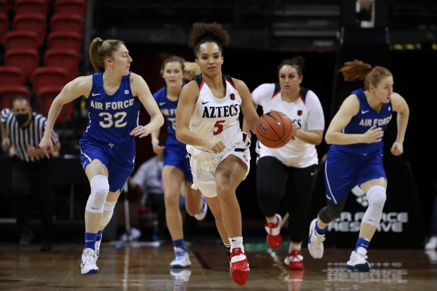 San+Diego+State+women%27s+basketball+senior+guard+T%C3%A9a+Adams+pushes+the+ball+up+the+court+during+the+Aztecs%27+56-48+loss+to+Air+Force+on+March+7%2C+2021+at+the+Thomas+%26+Mack+Center+in+Las+Vegas.