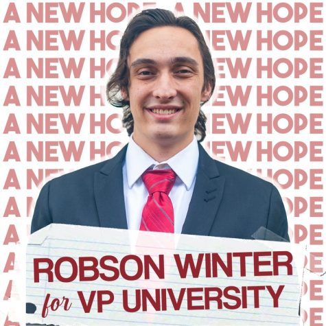 A.S. vice president of university affairs candidate Robson Winter