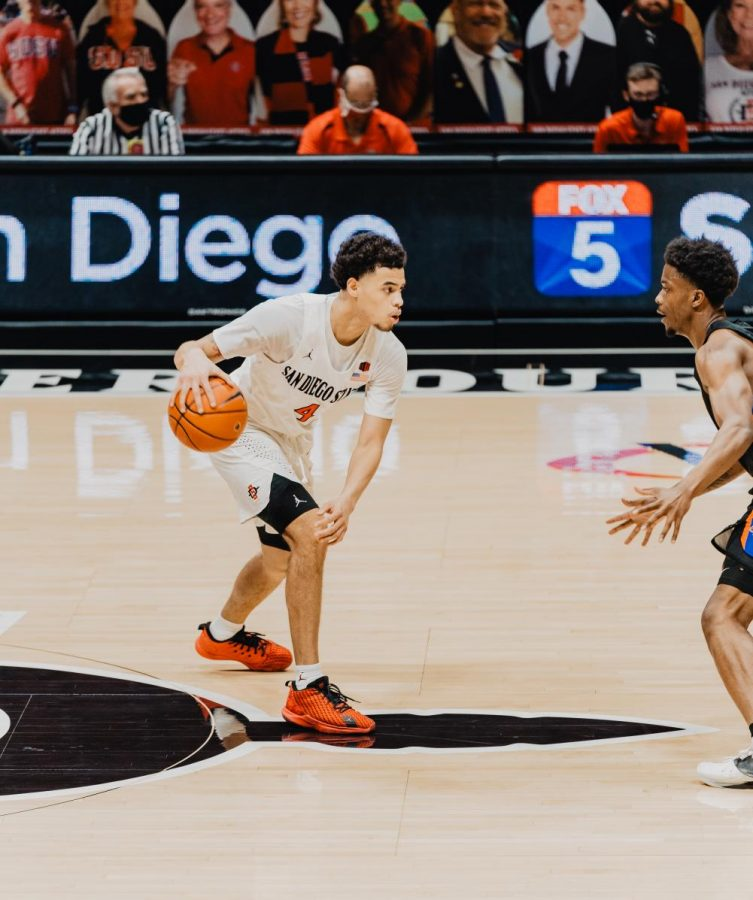 San Diego State men's basketball senior guard Trey Pulliam faces a Boise State defender during the Aztecs' 78-66 overtime win over the Broncos on Feb. 25, 2021 at Viejas Arena.