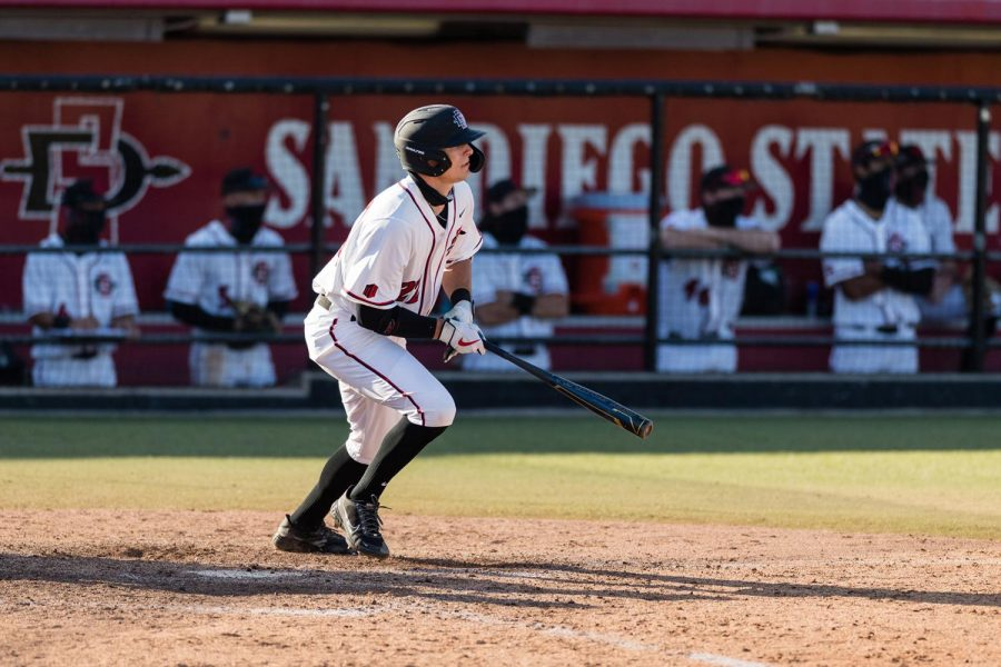 San Diego State baseball redshirt sophomore outfielder Jaden Fein finishes his follow-through on a swing during the Aztecs' series against San Diego on Feb. 19-21, 2021.