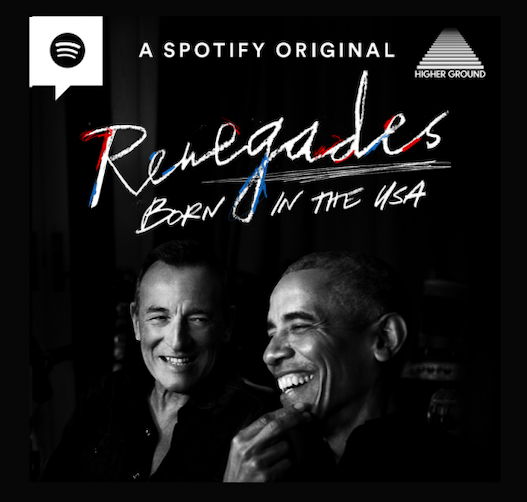 The title cover for Barack Obama and Bruce Springsteens podcast, Renegades: Born In The USA. (Photo Courtesy of Spotify Studios)
