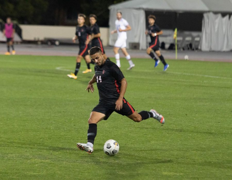 San Diego State men's soccer junior midfielder Tristan Weber attempts to control the ball during the Aztecs' 2-2 draw against UCLA on March 24, 2021 at the SDSU Sports Deck.