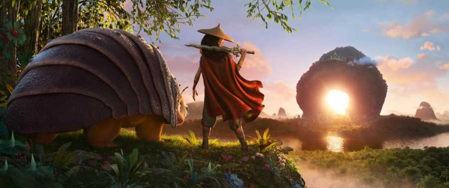 As an evil force threatens the kingdom of Kumandra, it is up to warrior Raya, and her trusty steed Tuk Tuk, to leave their Heart Lands home and track down the last dragon to help stop the villanous Druun. © 2020 Disney. All rights reserved.