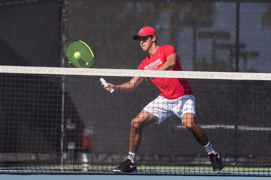 San Diego State men's tennis senior Ignacio Martinez swings his racket at a ball during a competition during the 2020-21 season.