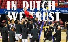 After cutting down the nets at Thomas & Mack Center in Las Vegas, men's basketball head coach Brian Dutcher did a