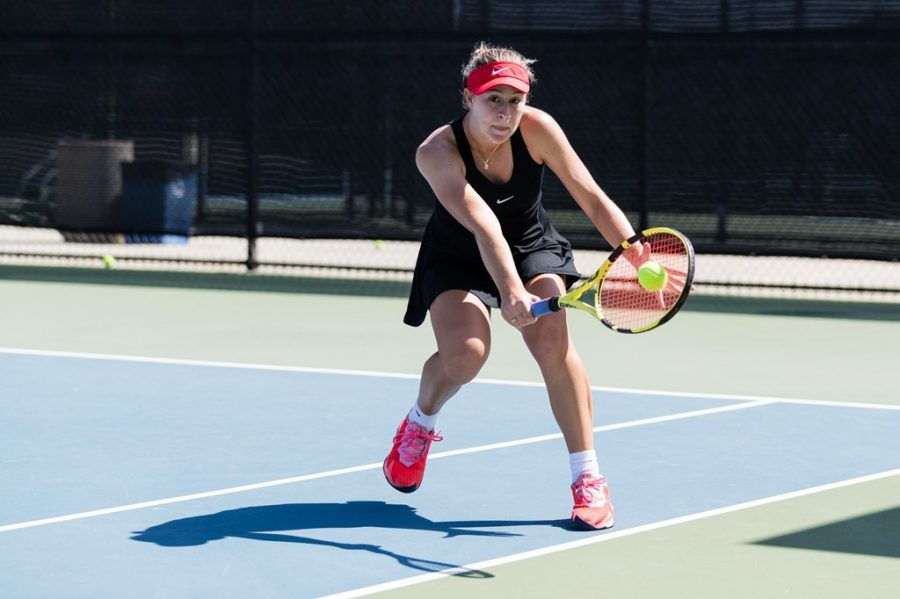 San Diego State women's tennis freshman Alexandria Von Tersch Pohrer swings at a ball during the Aztecs' 7-0 loss to Oregon on March 22, 2021 at the SDSU Tennis Center.