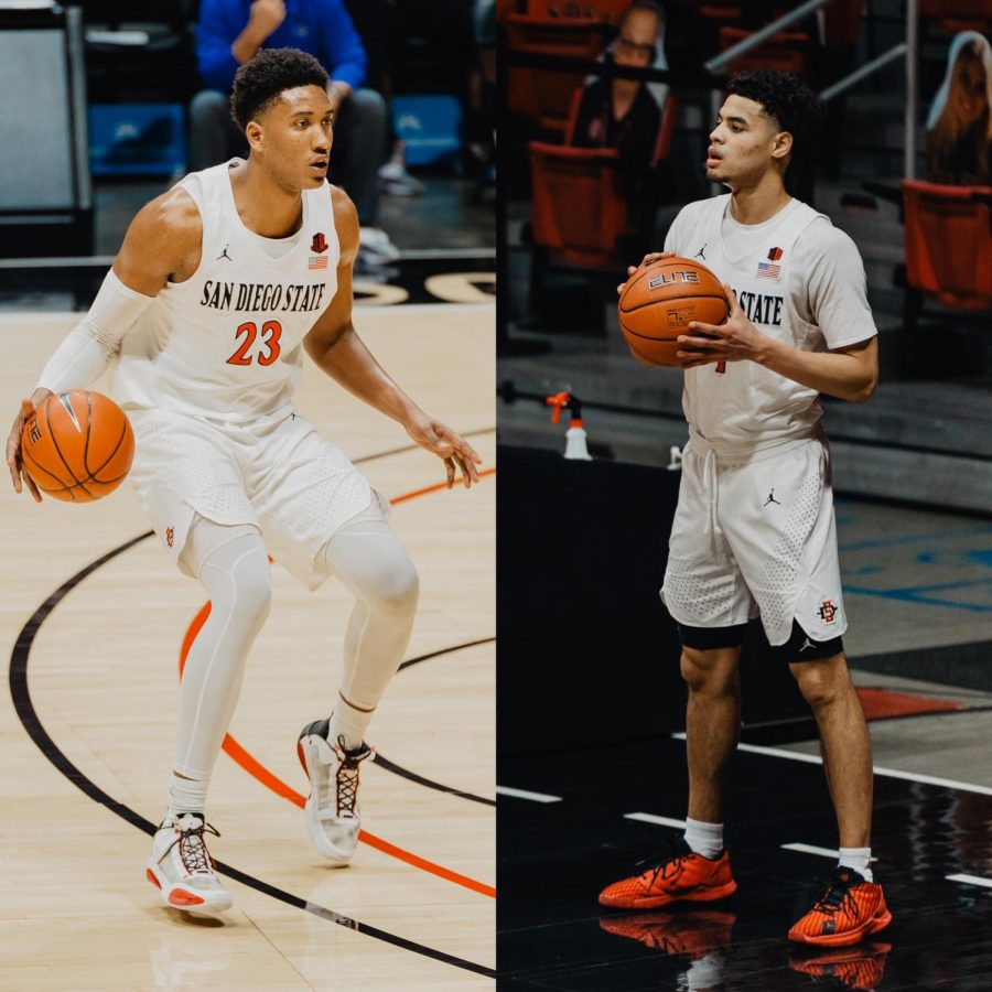 San Diego State men's basketball senior forward Joshua Tomaić (left) and senior guard Trey Pulliam (right) pictured during the Aztecs' 78-66 overtime win over Boise State on Feb. 25, 2021 at Viejas Arena.
