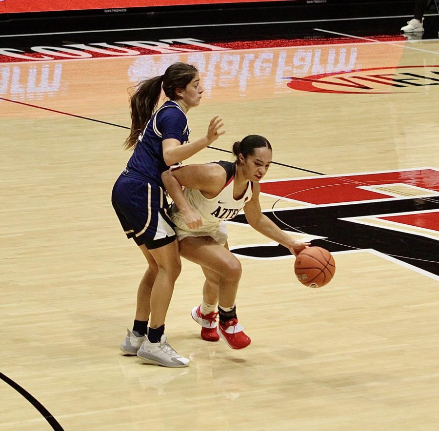 San Diego State women's basketball senior guard Téa Adams looks to get past a UC Irvine defender during the Aztecs' 66-55 loss to the Anteaters on Dec. 19, 2020 at Viejas Arena.