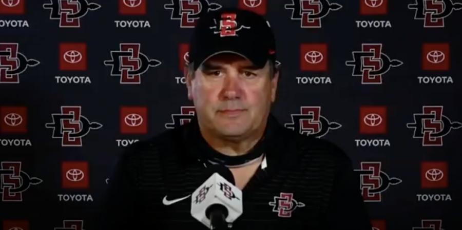San Diego State football head coach Brady Hoke spoke with the media on April 13, 2021.