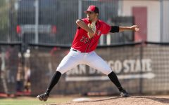 San Diego State baseball redshirt junior pitcher Christian Winston winds up during the Aztecs' doubleheader against Nevada on April 10, 2021 at Tony Gwynn Stadium.