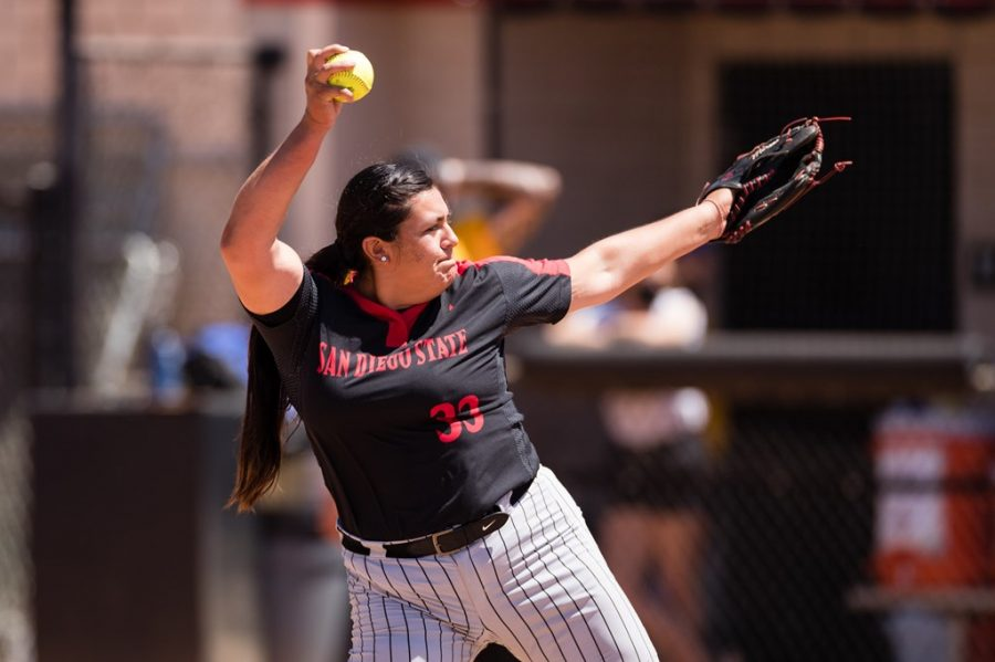 San Diego State softball senior pitcher Marissa Moreno fires a pitch during the Aztecs' 14-3 win over San José State on April 18, 2021 at the SDSU Softball Stadium.