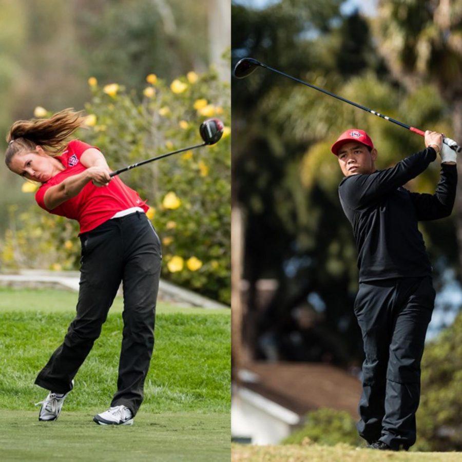 San+Diego+State+women%27s+golf+senior+Sara+Kjellker+%28left%29+and+men%27s+golf+senior+Puwit+Anupansuebsai+swing+their+drivers+during+the+2021+season.