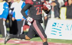 San Diego State football then-sophomore cornerback Darren Hall returns a fumble for a touchdown during the Aztecs' 48-11 victory over Central Michigan on Dec. 21, 2019 at Dreamstyle Stadium in Albuquerque, New Mexico.