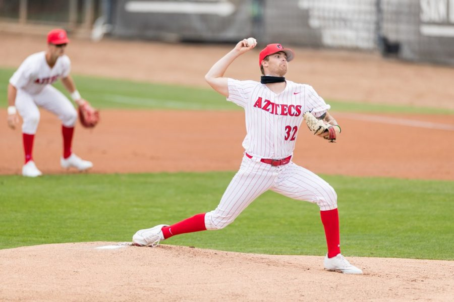 San Diego State baseball redshirt freshman pitcher Ricky Tibbett tosses a pitch during the 2021 season.